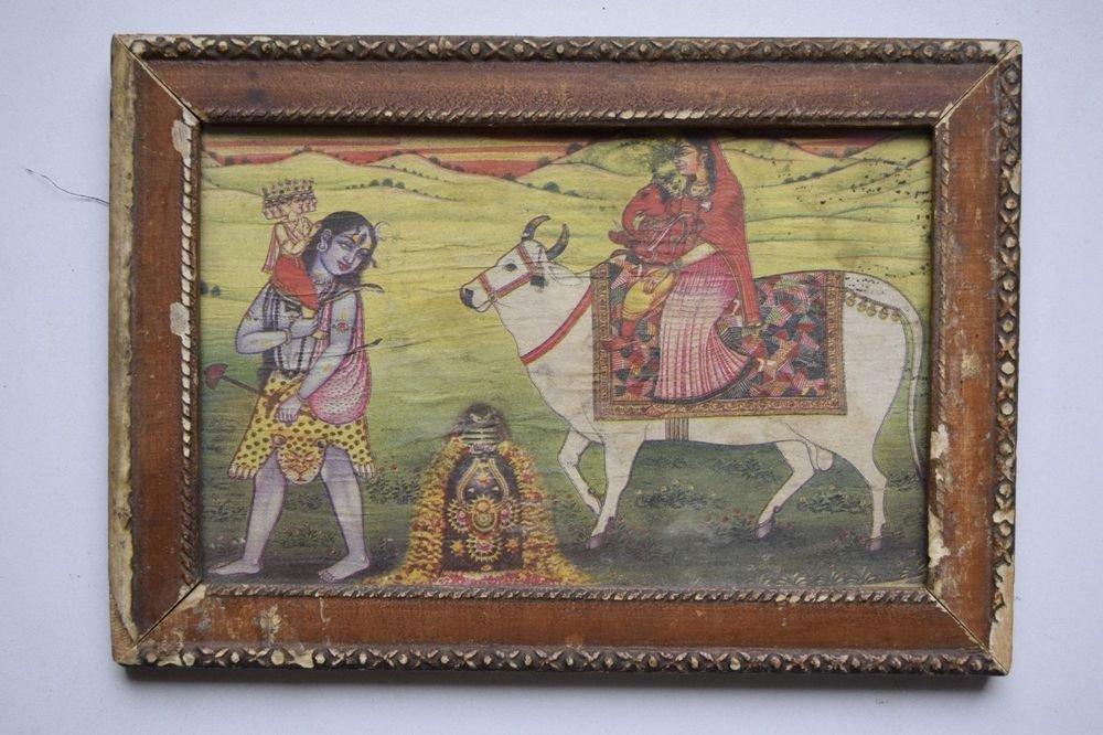 Kali Shiva Lingam Ganesh Parvati Print in Old Wooden Frame Religious Art #3149