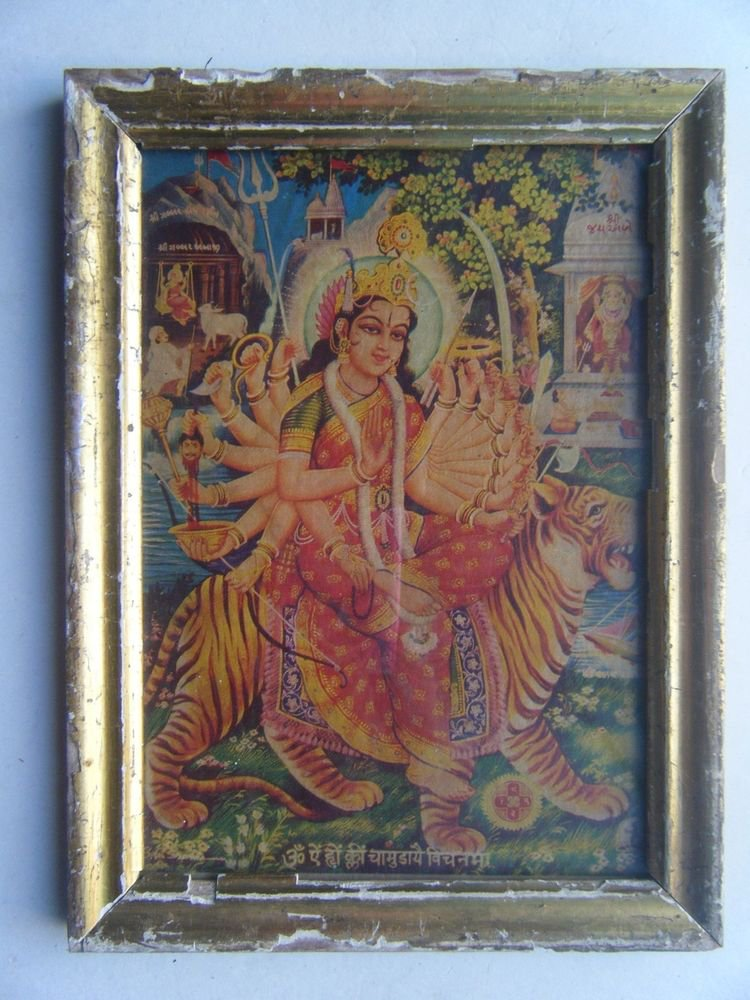 Hindu God Ganesha Old Religious Print in Old Wooden Frame India Art #2866