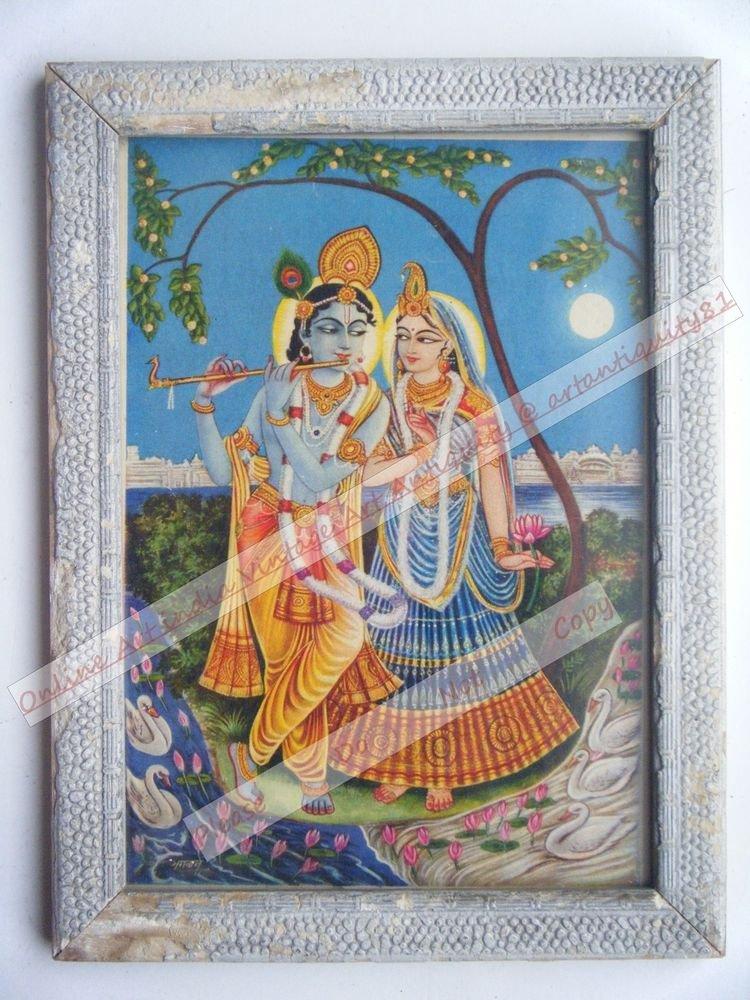 Hindu God Krishna Nice Old Religious Print in Old Wooden Frame India Art #2463