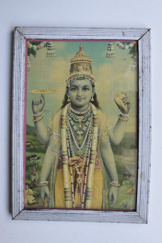 Vishnu Collectible Rare Old Religious Art Print in Old Wooden Frame #3321