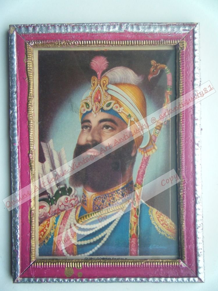 Sikh Guru Govind Singhji Old Religious Print in Old Wooden Frame India Art #2501
