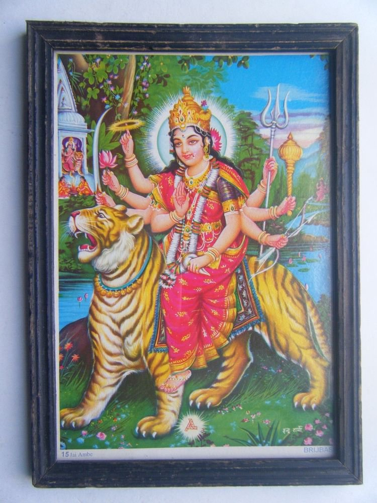 Goddess Ambe Mata Rare Old Religious Print in Old Wooden Frame India Art #2860