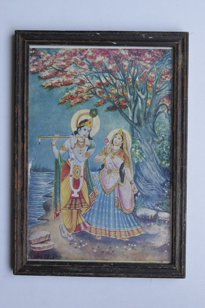 Krishna Collectible Rare Old Art Print in Old Wooden Frame from India #3310