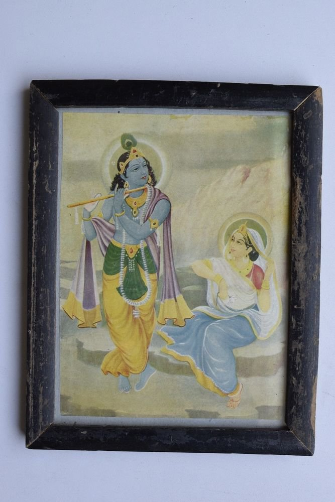 Krishna Collectible Rare Old Art Print in Old Wooden Frame from India #3311