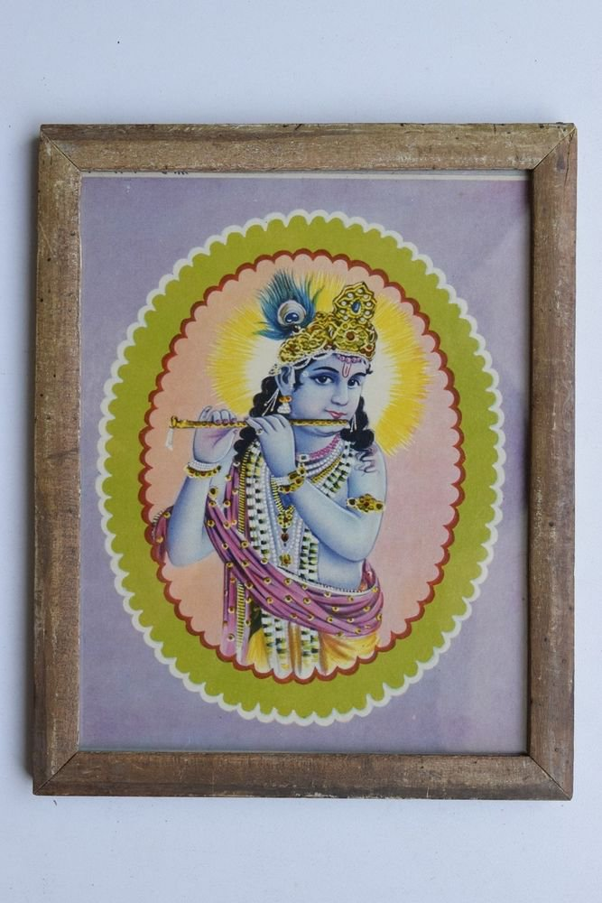 Krishna Collectible Rare Old Art Print in Old Wooden Frame from India #3305
