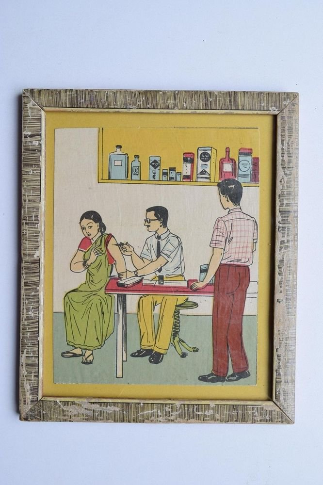 Old Educational Chart Calendar Learning School Print In Old Wooden Frame #3018