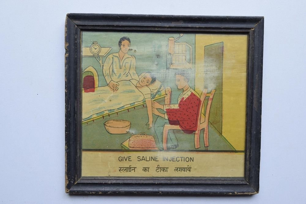 Old Educational Chart Calendar Learning School Print In Old Wooden Frame #3019