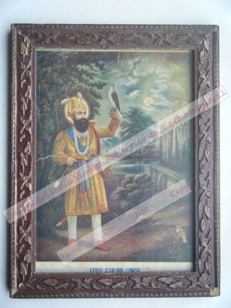 Sikh Guru Govind Singhji Old Religious Print in Old Wooden Frame India Art #2539