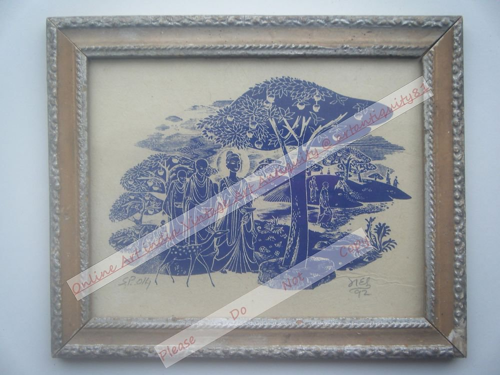 Buddha Beautiful Signed Art Print in Old Handmade Wooden Frame India #2363