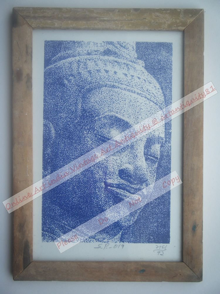 Buddha Beautiful Signed Art Print in Old Handmade Wooden Frame India #2364