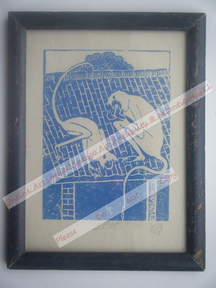 Monkeys Beautiful Signed Art Print in Old Handmade Wooden Frame India #2362