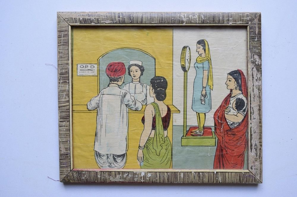 Old Educational Chart Calendar Learning School Print In Old Wooden Frame #3035