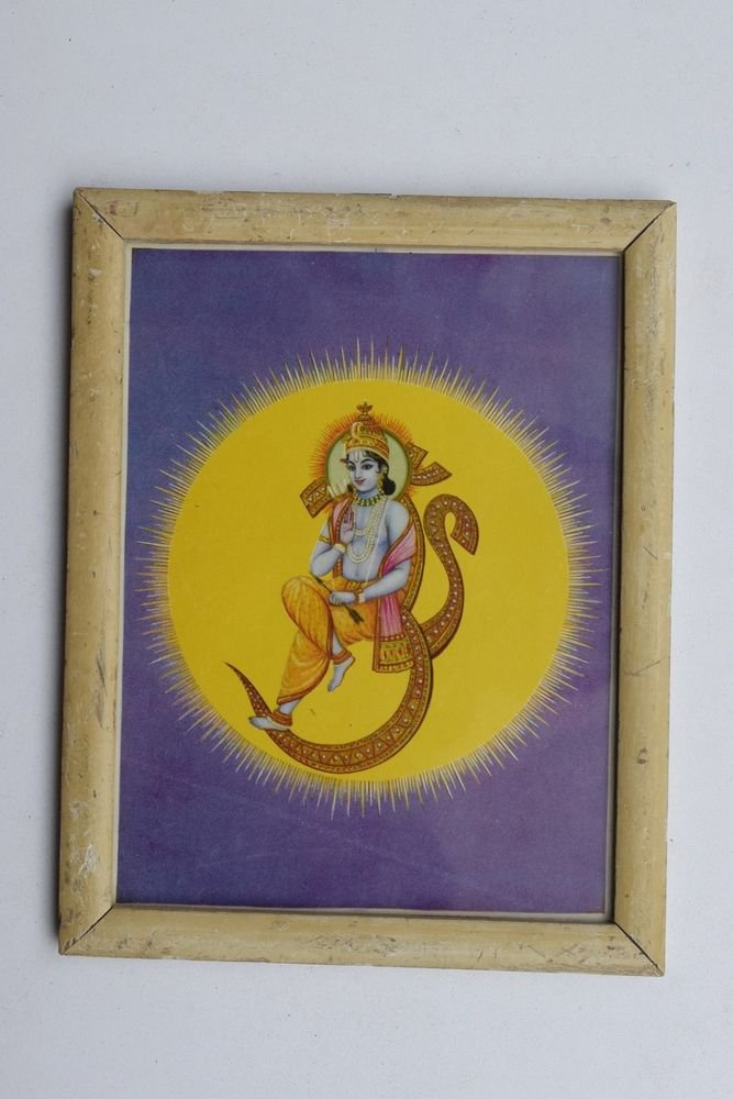 God Rama Ramayana Rare Old Religious Print in Old Wooden Frame India Art #3260