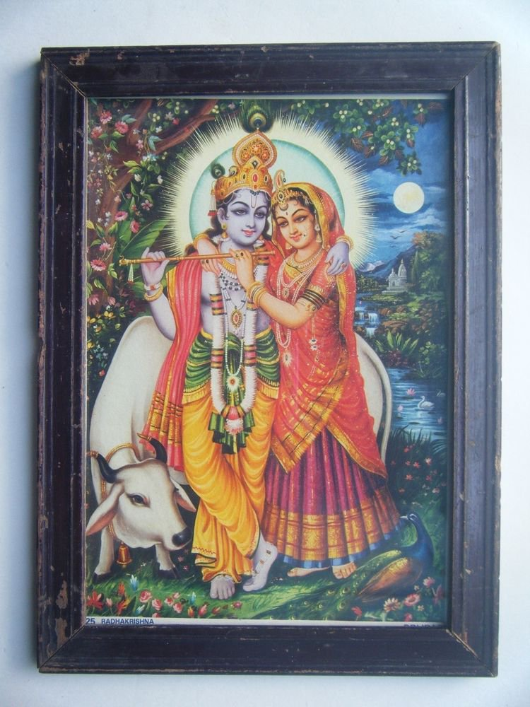 Hindu God Krishna Rare Old Religious Print in Old Wooden Frame India Art #2771