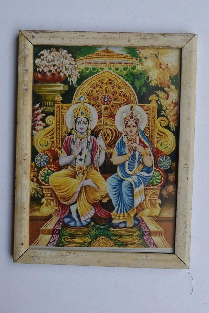 God Rama Sita Mata Rare Old Religious Print in Old Wooden Frame India Art #3244