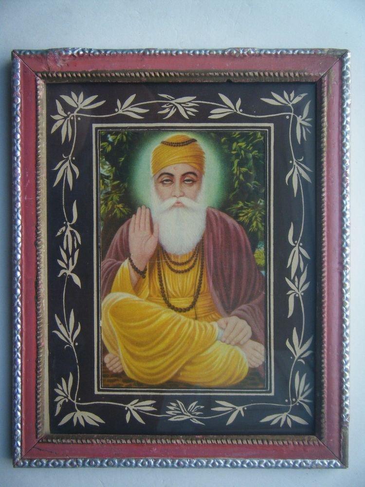 Sikh Guru Nanak Dev Ji Old Religious Print in Old Wooden Frame India Art #2800