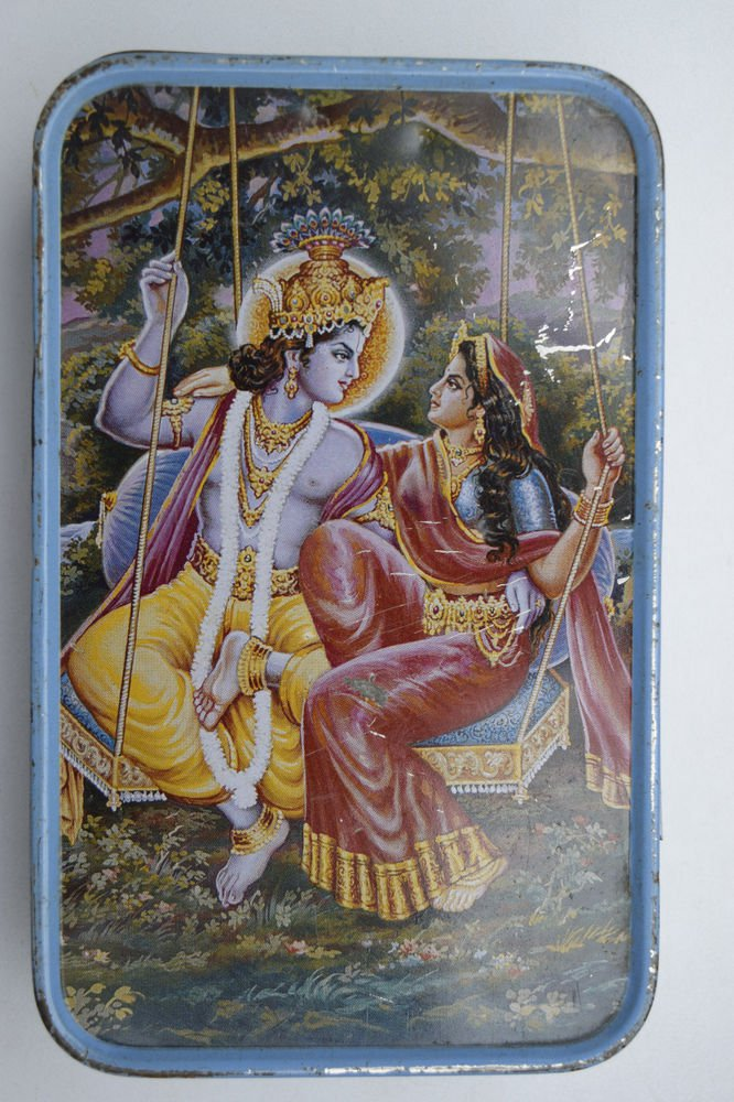 Old Sweets Tin Box, Rare Collectible Litho Printed Tin Boxes India #1437