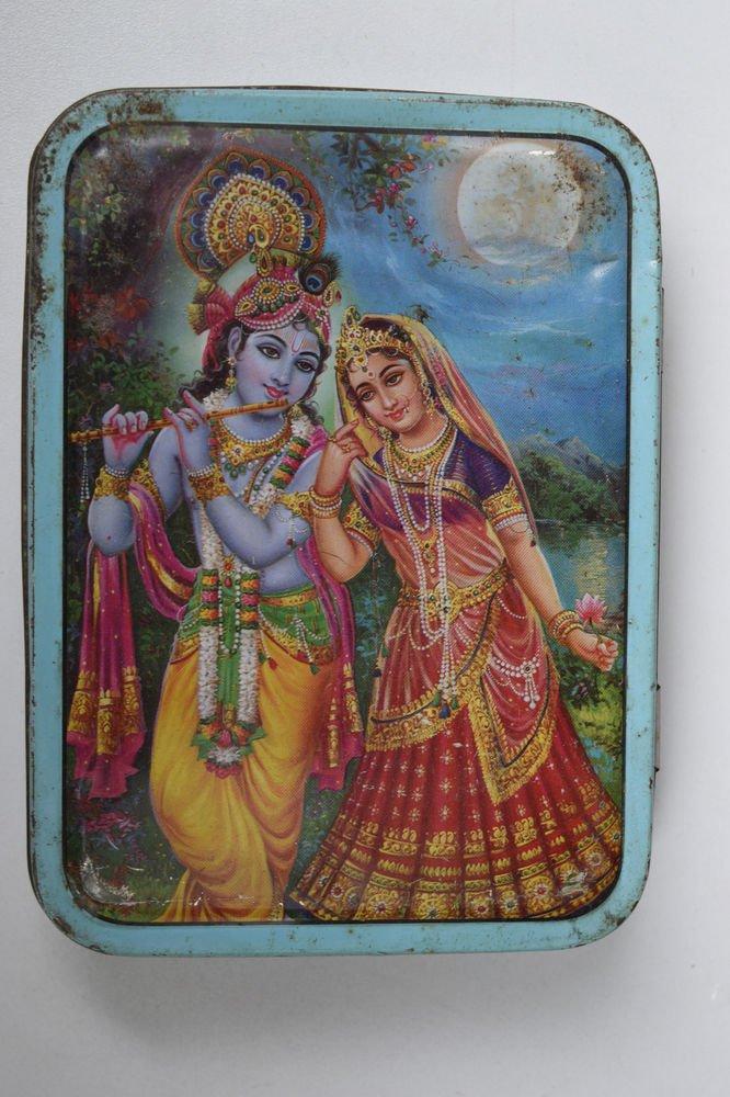 Old Sweets Tin Box, Rare Collectible Litho Printed Tin Boxes India #1435