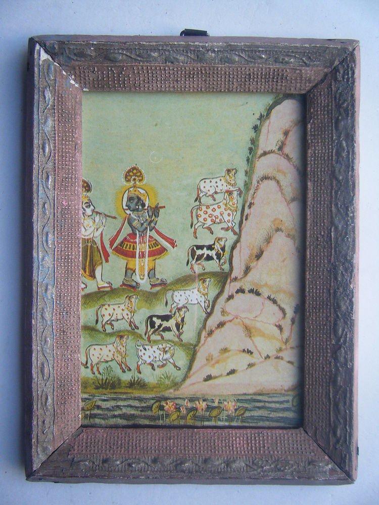 Hindu God Krishna Old Religious Print in Old Wooden Frame India Art #2823