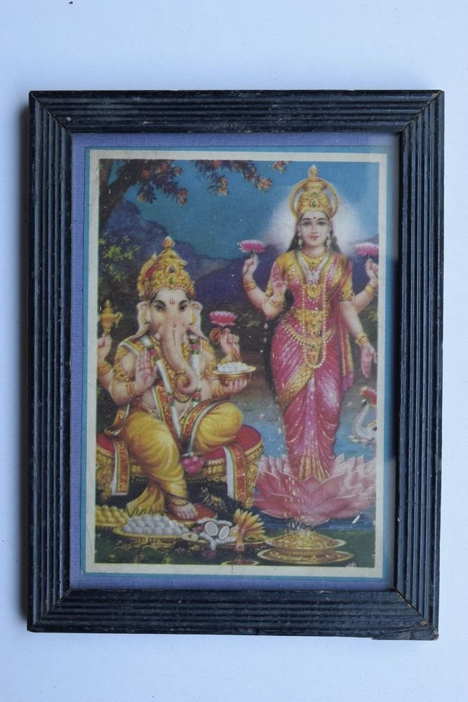 Goddess Laxmi Collectible Rare Old Religious Art Print in Old Wooden Frame #3348