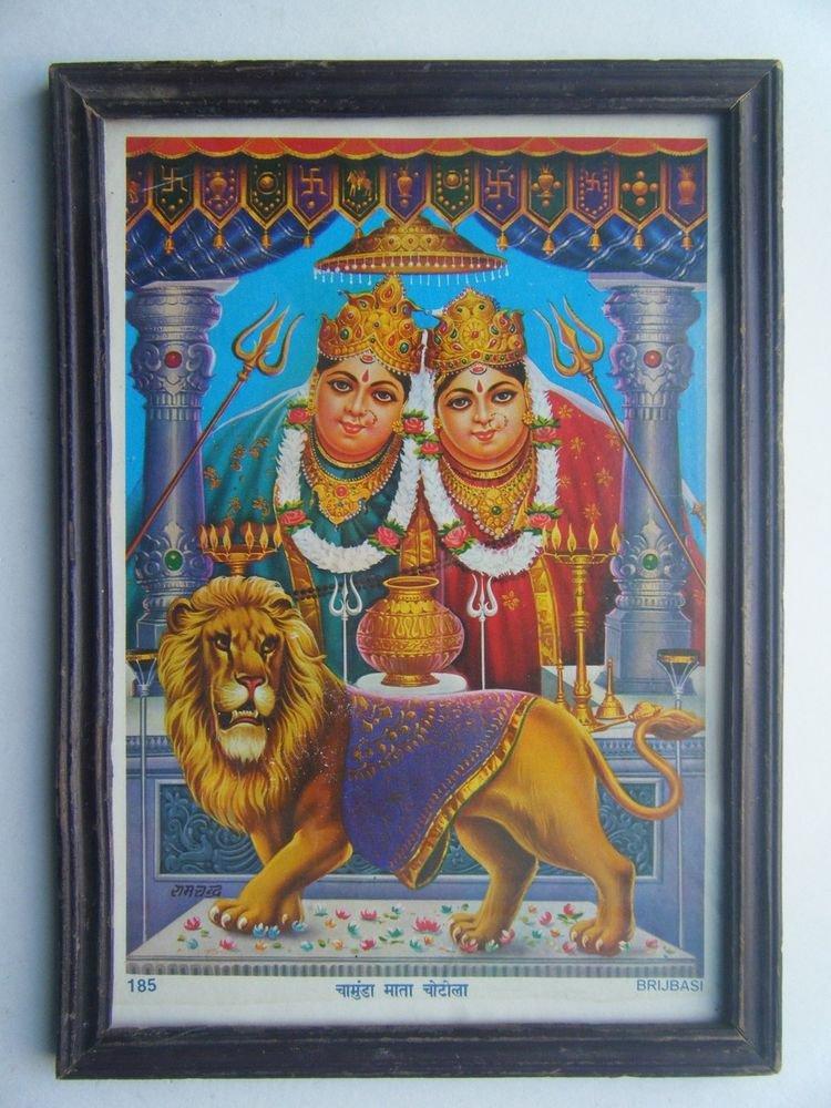 Goddess Chamunda Mata Old Religious Print in Old Wooden Frame India Art #2861