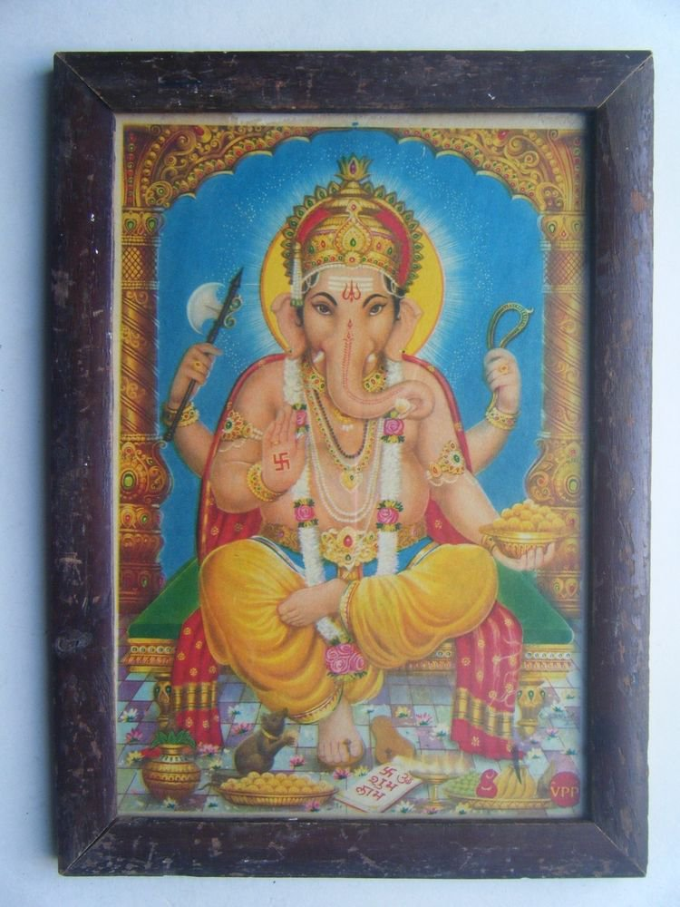 Hindu God Ganesha Old Religious Print in Old Wooden Frame India Art #2865