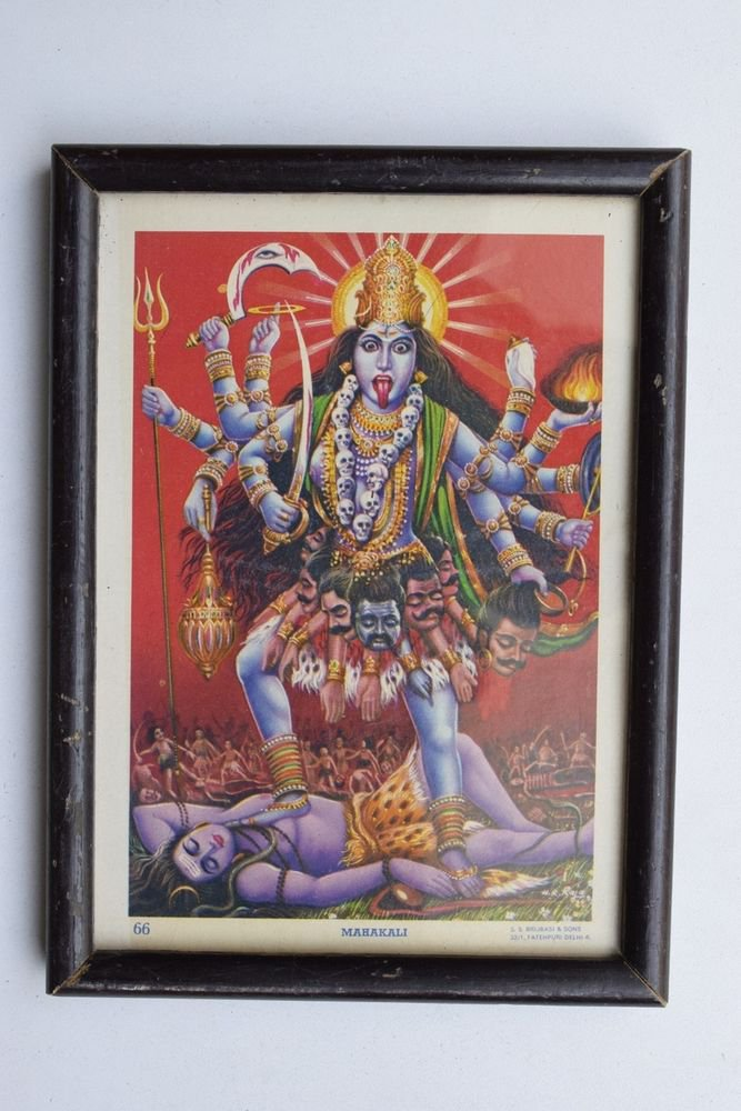 Goddess Kali Collectible Rare Old Religious Art Print in Old Wooden Frame #3341