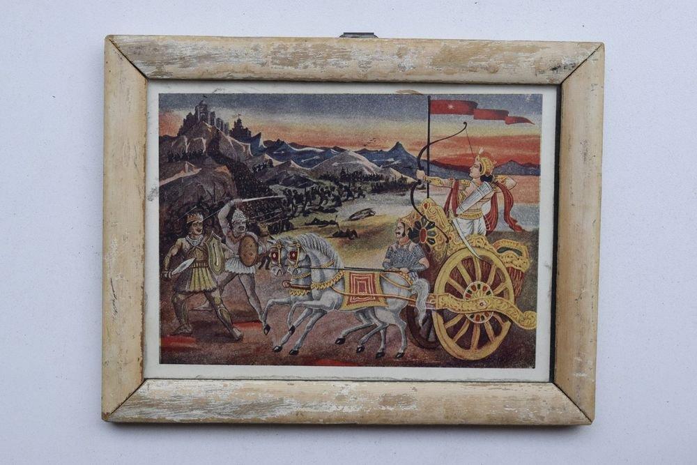 War Mahabharat Rare Old Religious Print in Old Wooden Frame India Art #3261