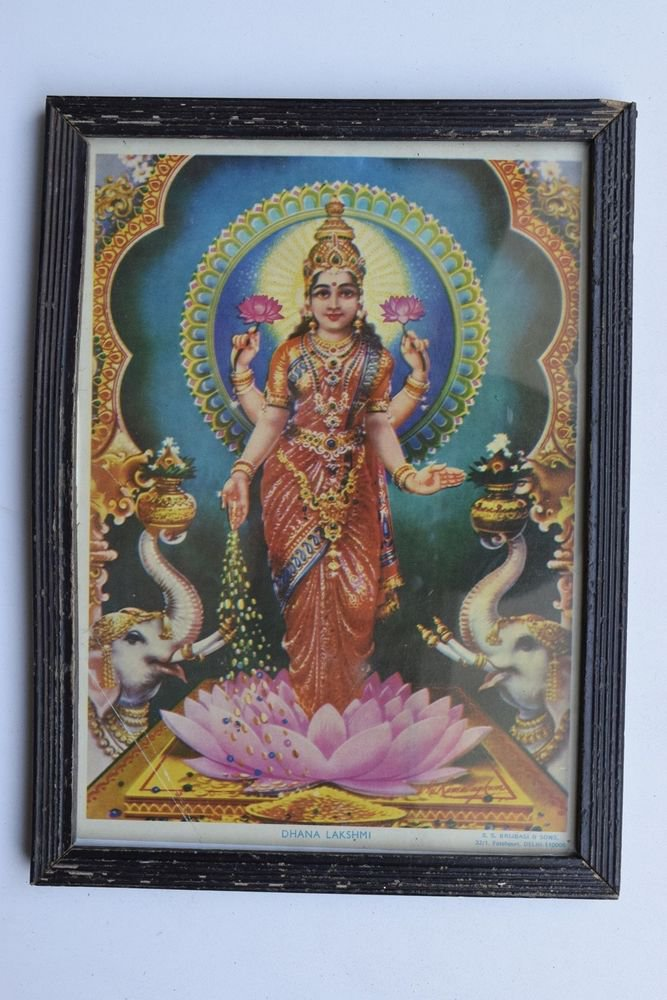 Wealth Goddess Laxmi Rare Old Religious Art Print in Old Wooden Frame #3351