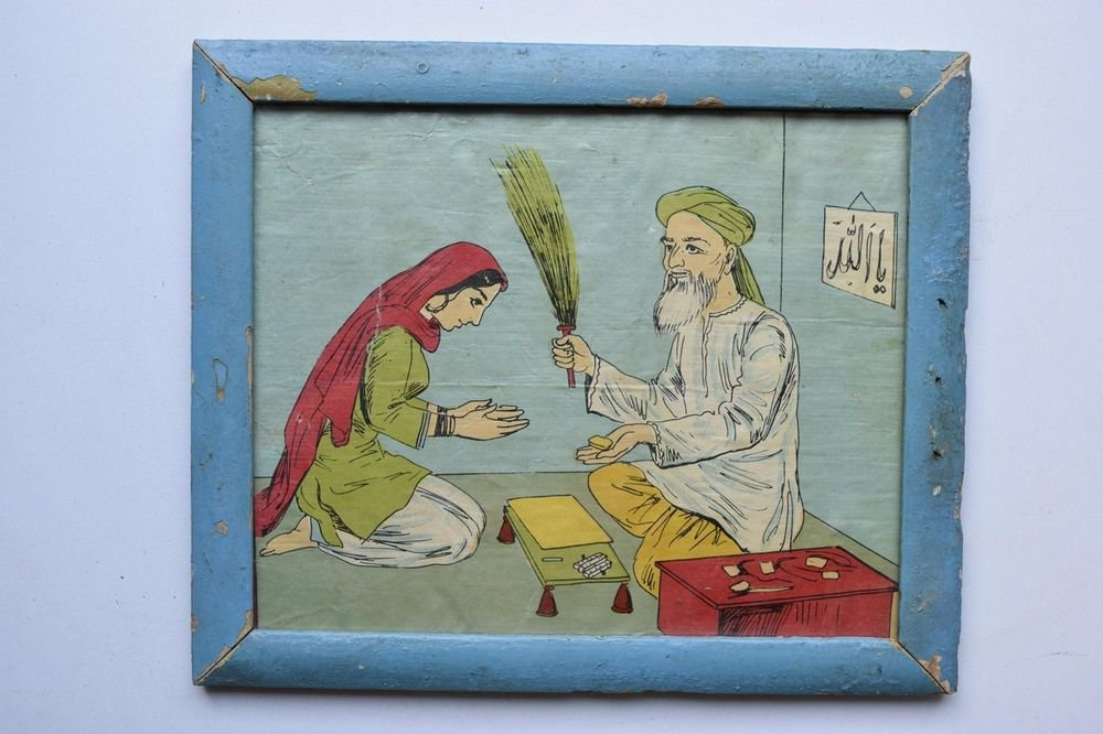 Old Educational Chart Calendar Learning School Print In Old Wooden Frame #3028