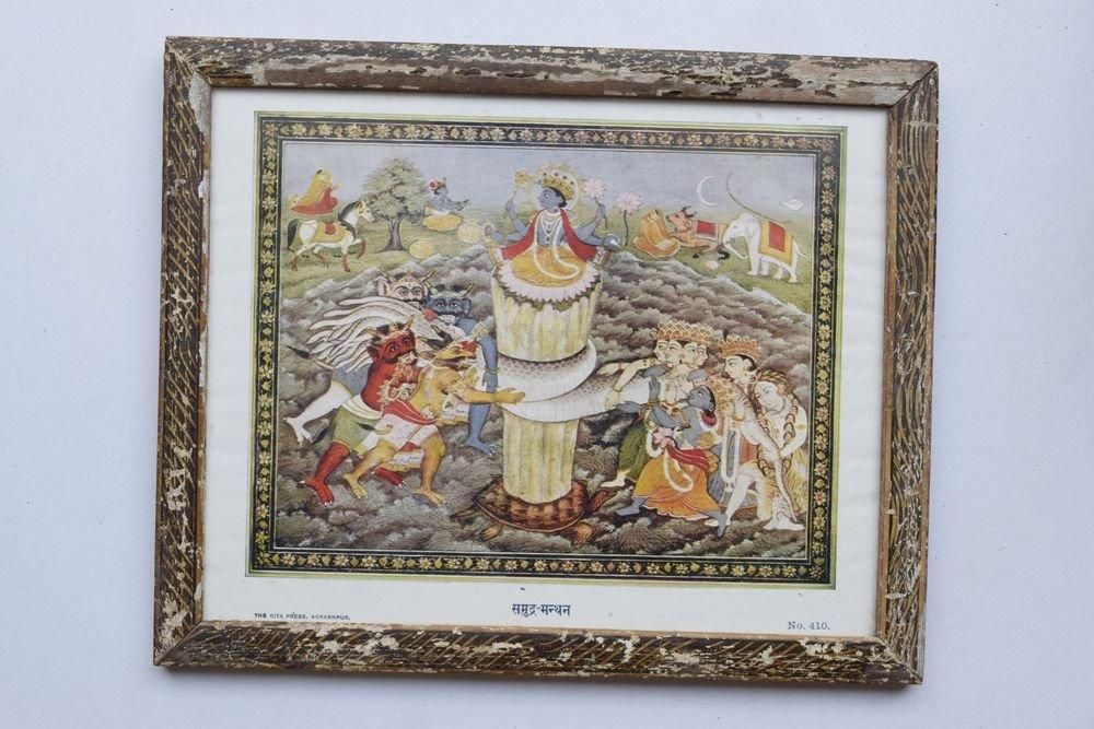 Churning of Ocean Vishnu Rare Old Religious Art Print in Old Wooden Frame #3322