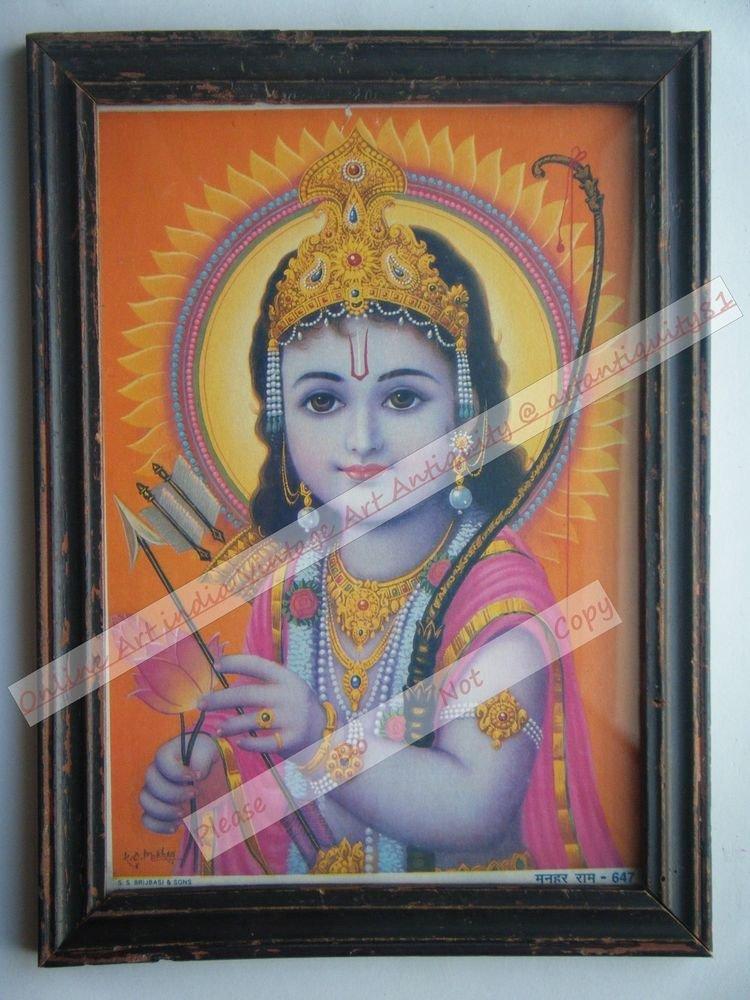 Hindu God Krishna Nice Old Religious Print in Old Wooden Frame India Art #2423