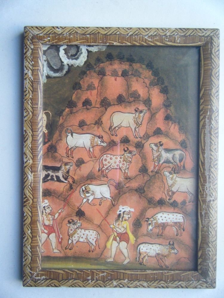 Hindu God Krishna Cows Old Religious Print in Old Wooden Frame India Art #2821