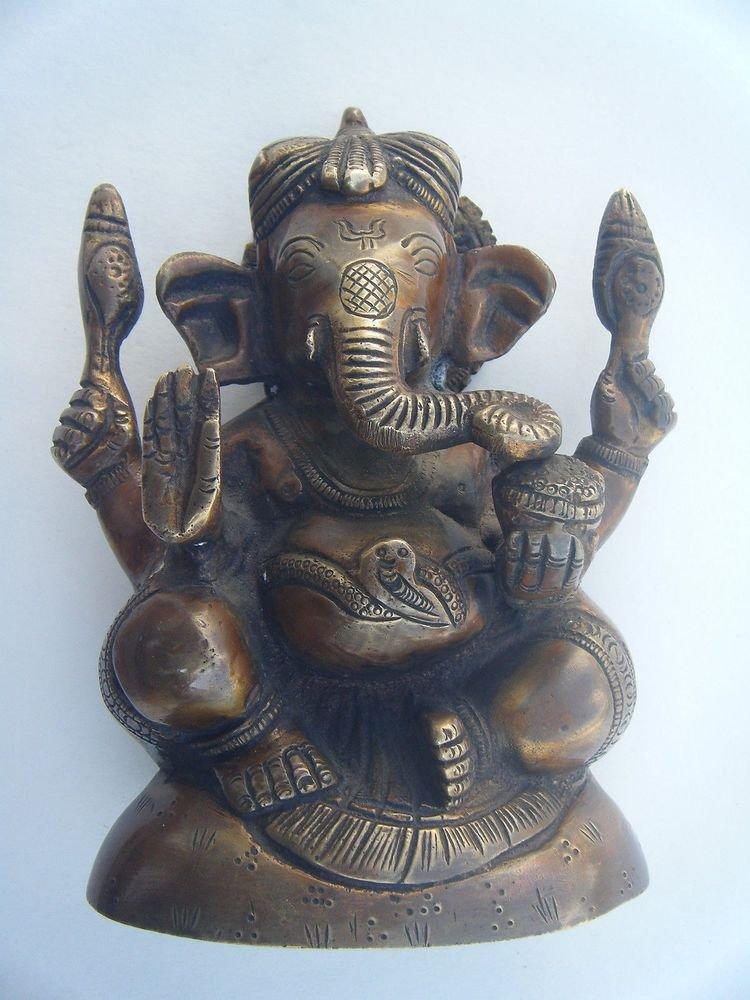 GANESHA Brass Statue Vintage Traditional Indian Elephant God Small Figure #968