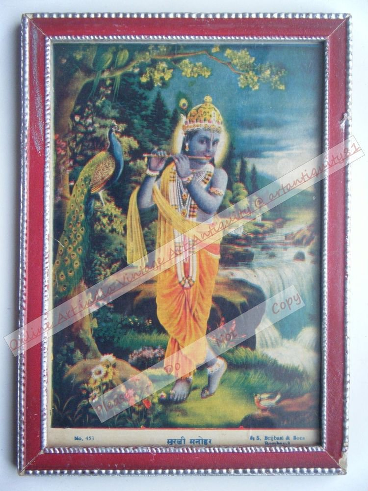 Hindu God Krishna Nice Old Religious Print in Old Wooden Frame India Art #2459