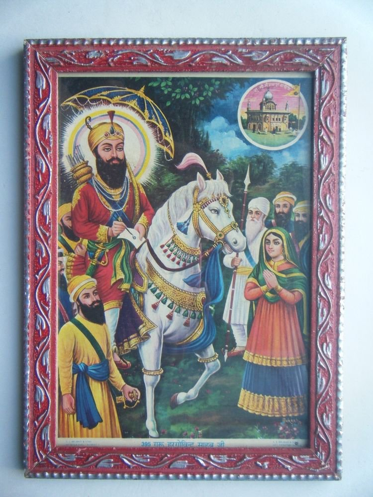 Sikh Guru Govind Singhji Old Religious Print in Old Wooden Frame India Art #2799