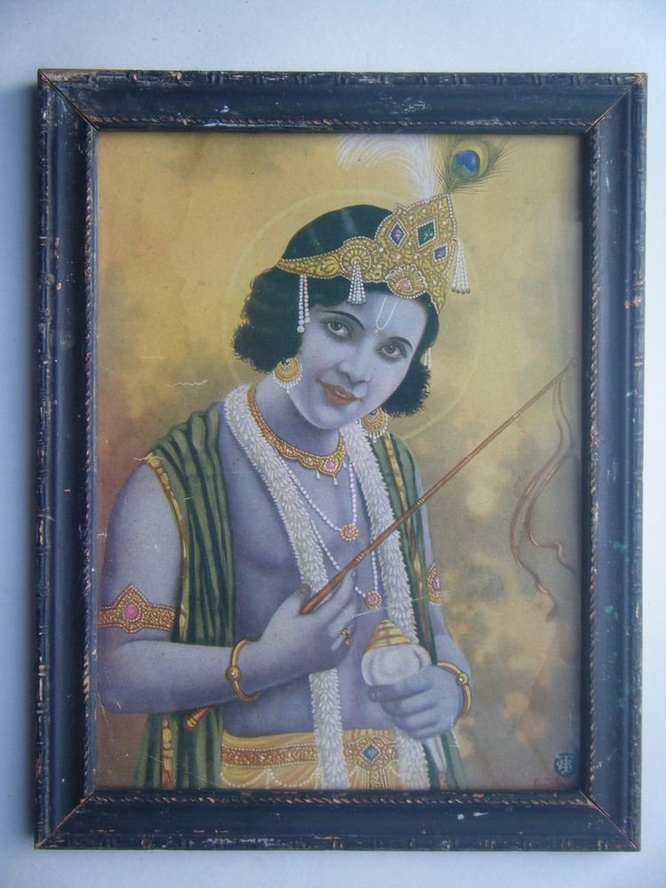 Hindu God Krishna Rare Old Religious Print in Old Wooden Frame India Art #2767