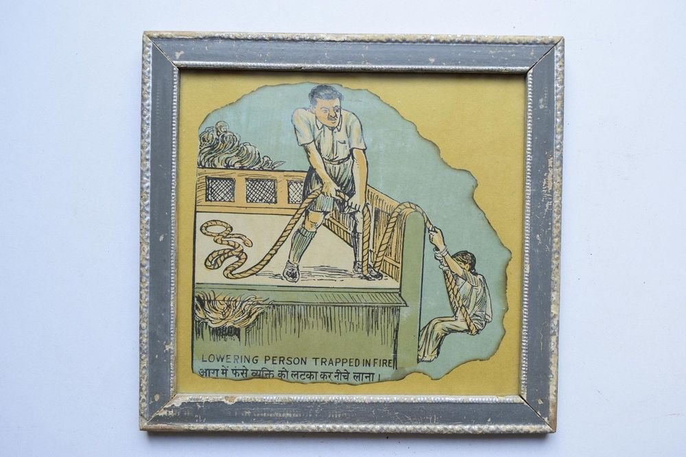 Old Educational Chart Calendar Learning School Print In Old Wooden Frame #3059
