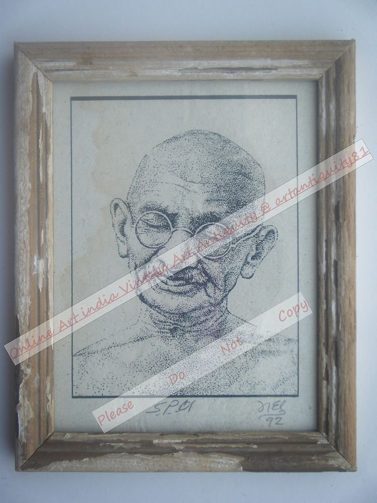 Beautiful Signed Art Print of Gandhi Ji in Old Handmade Wooden Frame India #2385