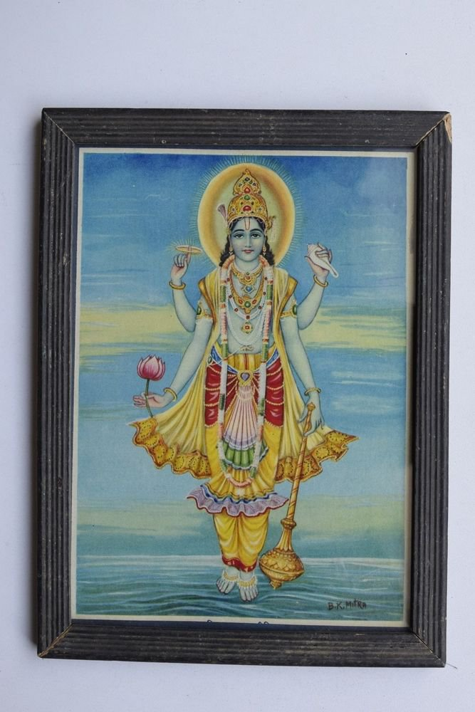 Vishnu Collectible Rare Old Religious Art Print in Old Wooden Frame #3314