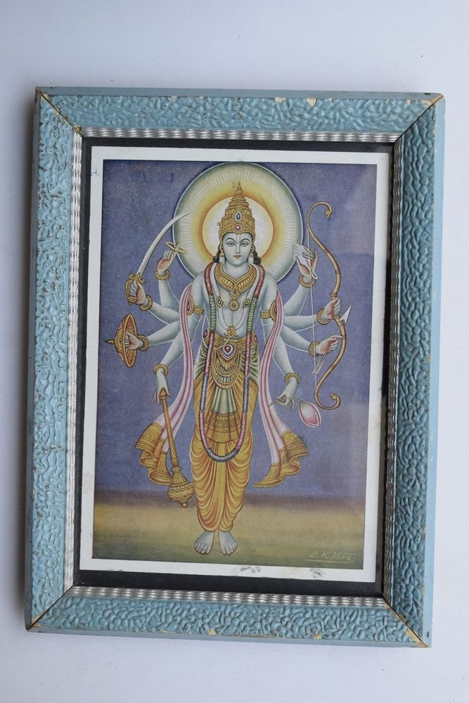 Vishnu Collectible Rare Old Religious Art Print in Old Wooden Frame #3317