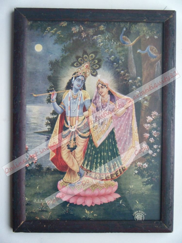 Hindu God Krishna Nice Old Religious Print in Old Wooden Frame India Art #2461