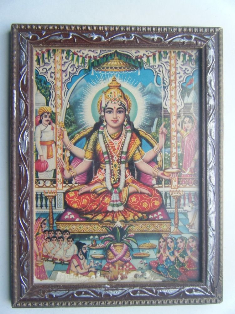 Goddess Santoshi Mata Old Religious Print in Old Wooden Frame India Art #2856