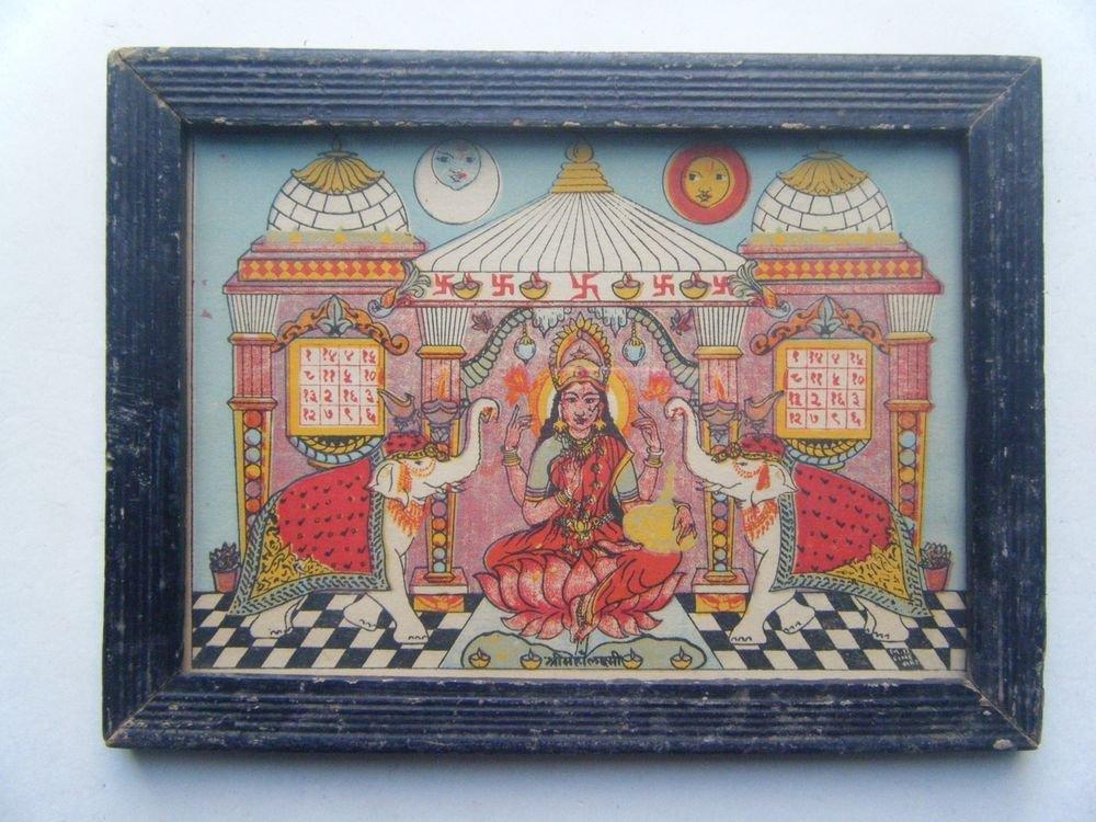 Goddess Laxmi Old Religious Litho Print in Old Wooden Frame India Art #2862