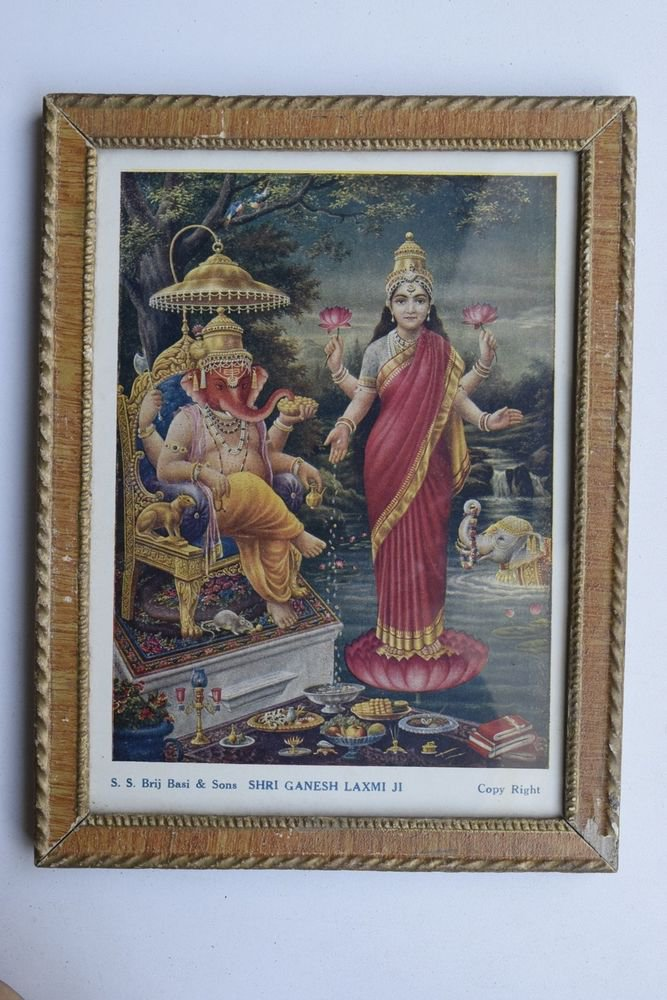 Goddess Laxmi Collectible Rare Old Religious Art Print in Old Wooden Frame #3347