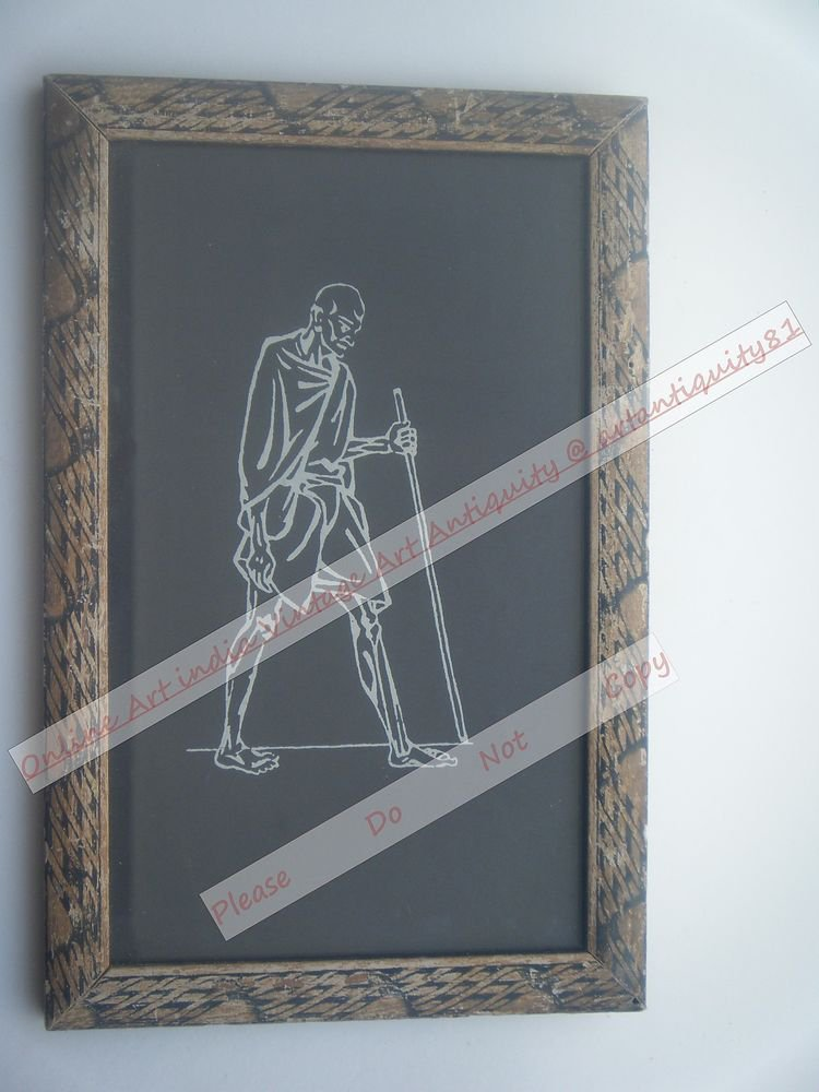 Beautiful Signed Art Print of Gandhi Ji in Old Handmade Wooden Frame India #2386