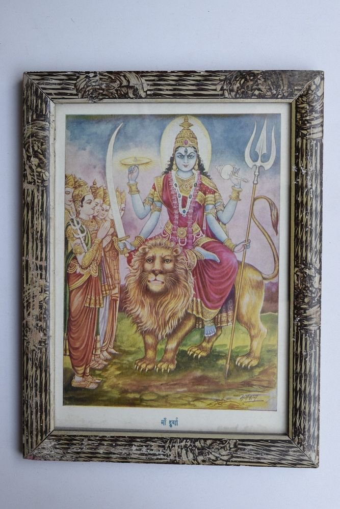 Goddess Durga Collectible Rare Old Religious Art Print in Old Wooden Frame #3332