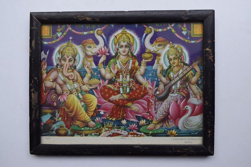 Goddess Durga Rare Old Religious Print in Old Wooden Frame India Art #3113