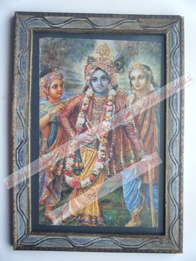 Hindu God Krishna Nice Old Religious Print in Old Wooden Frame India Art #2460