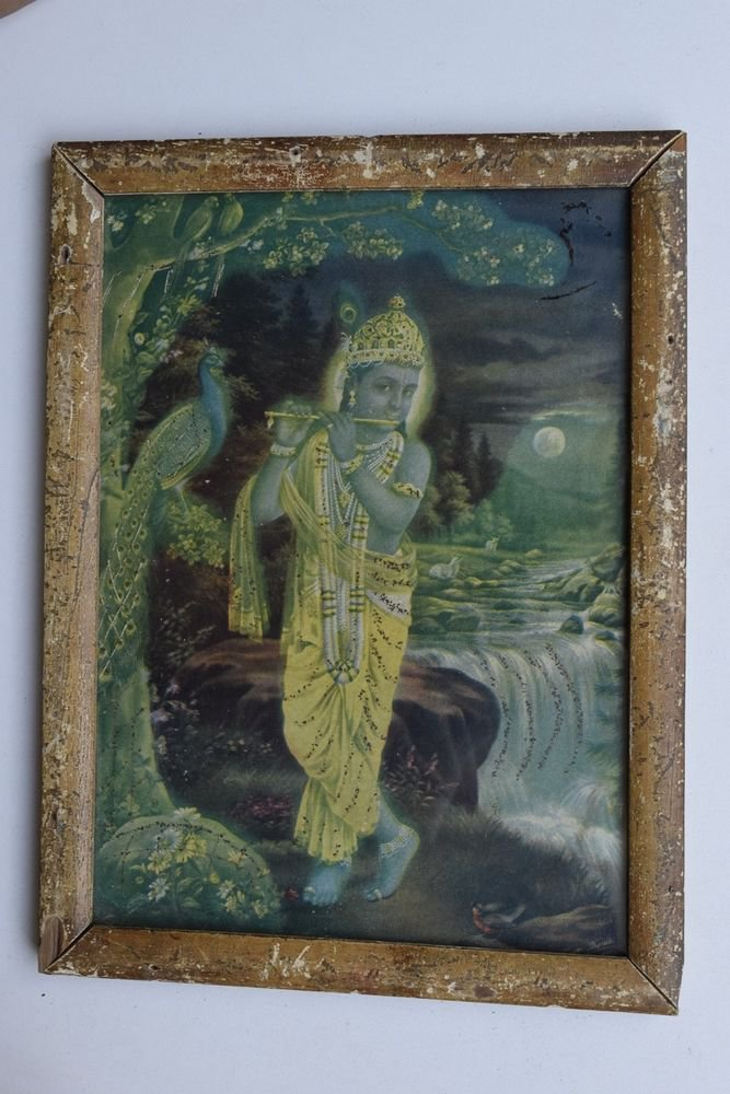 Krishna Collectible Rare Old Art Print in Old Wooden Frame from India #3303